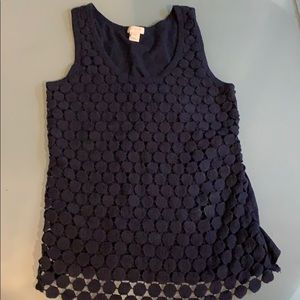 J Crew XXS Navy crotchet sleeveless top